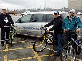 Seafarers get on their bikes