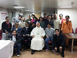 Seafarers celebrate All Saints Mass on board