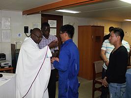 Mass on ship after seafarer dies